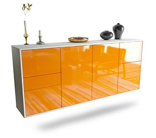 Dekati Sideboard Beaumont hängend (180x77x35cm) Korpus Weiss matt | Front Hochglanz Orange | Push-to-Open | Leichtlaufschienen