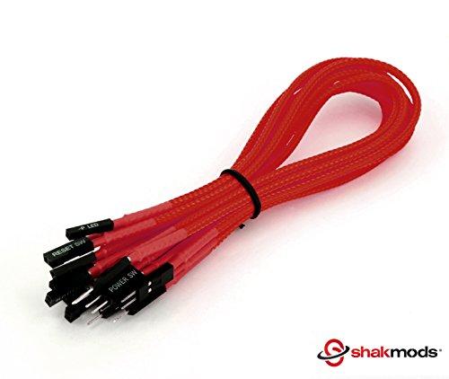 shakmods 30cm panel frontal rojo manga cable de reiniciar HDD LED altavoz +-Cable de extensión