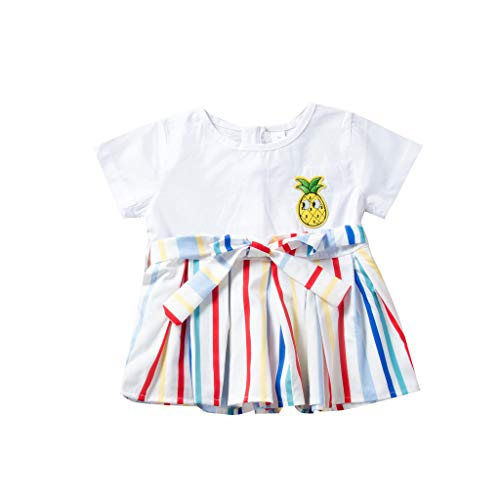 Cover Mädchen Kleider Patchwork Gestreiftes Kleid Rundhals T-Shirt Tank-Kleid Kurzarmkleid Sommerkleid