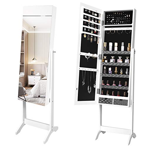 YITAHOME 2 in 1 Jewelry Cabinet with Full Length Mirror, Standing Large Capacity Jewelry Armoire Organizer with 2 Drawers, 3 Angel Adjustable, White