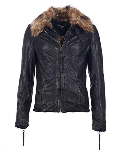 Maze dames leren jas met afsluitbare echte bontkraag modestino zwart