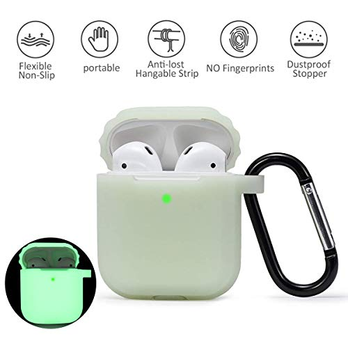 AirPods Silicone Case Cover Dark Fluorescent Anti-Lost Rope with Keychain for Apple Airpod 2 \& 1 Night Glow(Green)