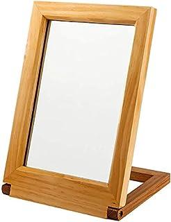 Makeup Mirror Wooden High Definition Folding Mirror Desktop Beauty Dresser Mirror Desktop Princess Mirror Tabletop Folding Bedroom Mirror