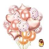 ✿ Grande Set di Valori: l'imballaggio contiene 54 palloncini festaioli e 10 m nastro oro rosa. Tra cui 5 pezzi di palloncini di coriandoli oro rosa, 5pcs rosa palloncini in oro bianco e rosa bicolore confetti in lattice 20pcs palloncini in oro rosa 2...