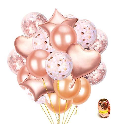 ARZOPA Palloncini Decorazioni per Festa 55 Pezzi Oro Rosa e Arancione di Lattice,Coriandoli,a Forma di Cuore e Stella Palloncini per Compleanno,Party,Matrimoni e Cerimonia Celebrazione