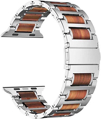 iitee - Cinturino per Apple Watch, in Legno Naturale, in Acciaio Inox, per Apple Watch Serie 5/4/3/2/1