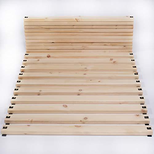 TUGA-Holztech Zirben Holz Zirbelkiefer metallfrei Rollrost Lattenrost Naturholz bis 300kg Flächenlast (Gurtband nicht montiert, 90 x 200)