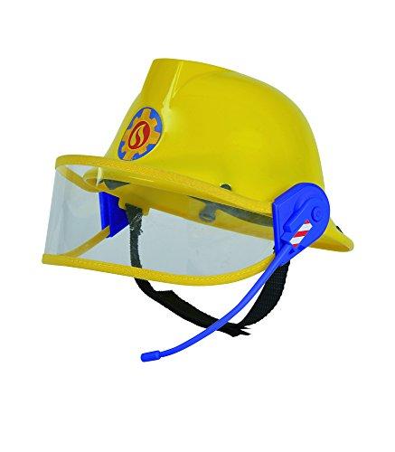 Simba 109258698 - Feuerwehrmann Sam Helm / Feuerwehrhelm / gelb/ mit Mikrofon / Größeneinstellung möglich / D:23cm, für Kinder ab 3 Jahren