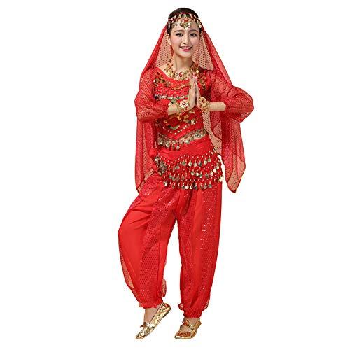 Xinvivion Femmes Professionnel Danse du Ventre Costume Bollywood Indien Arabe Dansant Performance Outfits Suit (Rouge,Fit 45-70 KG)