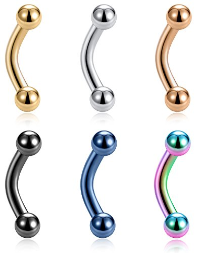 Tornito 6PCS 14G Short Bar Stainless Steel Belly Button Rings 6mm Bar Navel Rings for Women Barbell Dangle Body Piercing Jewelry