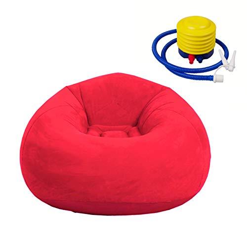 Aufblasbarer Sitzsack Stuhl, Faltbare Beflockung Aufblasbare Lazy Sofa Liege Couch Ultra Soft für zu Hause Wohnzimmer Schlafzimmer Dekor Haustier (rot mit Fußpumpe)