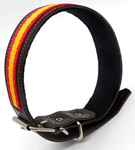 Collar de Perro de Piel marrón y con la Bandera de España ...