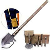 S&D Survival-Spaten-Werkzeug mit Tragetasche, Außen Multifunktionale bewegliche Schaufel, Folding Schaufel für Camping, Wandern, Gartenarbeit, Fischen, Jagen, Auto Notfall,Gold