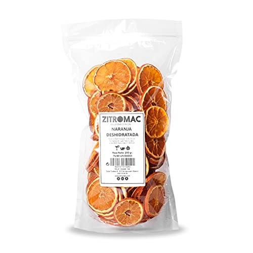 Naranja deshidratada para cóctel. Fruta deshidratada sin azúcar para coctel /decoración / repostería / navidad / bebidas. Rodaja de naranja seca 100% natural sin aditivos. Bolsa 220gr con autocierre