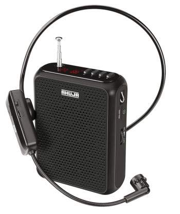 Ahuja Wireless Neckband NBA 30WL with Bluetooth,SD & Recording Microphone, Black, Medium