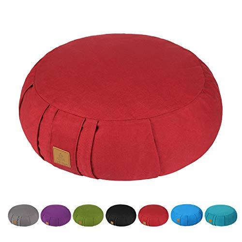 FelizMax Round Zafu Meditation Cushion, Zabuton Meditation Pillow, Yoga Bolster/Pillow, Floor seat, Zippered Organic Cotton Cover, Natural Buckwheat, Kneeling Pillow - Wine Red and Large Size