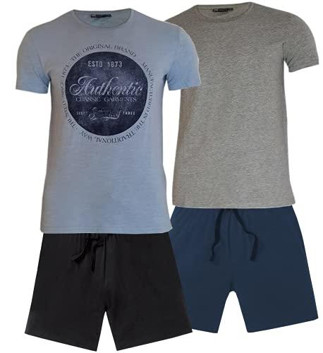 2er Pack Nightwear Herren Schlafanzug kurz Pyjama kurz Herren Shorty Schlafanzug aus 100% Baumwolle T-Shirt Schlafanzug Nachthemd Gr. M L XL (XL, Schw.Blau:Rund)