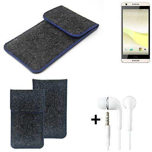 K-S-Trade Filz Schutz Hülle Für HTC Desire 650 Schutzhülle Filztasche Pouch Tasche Handyhülle Filzhülle Dunkelgrau, Blauer Rand Rand + Kopfhörer