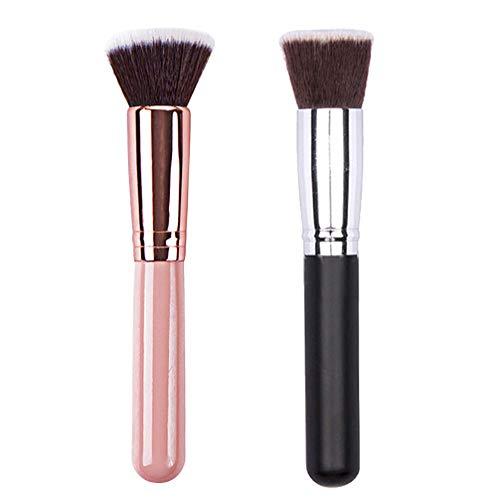 Beaupretty 2 Pcs Fond de Teint Liquide Brosse Visage Plat Dessus Brosse De Maquillage Manche En Bois Brosses Kabuki Pour Pointillé Mélange Polissage Réglage Maquillage (Noir Or Rose)