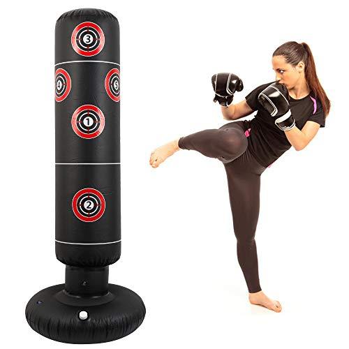 Freistehender Boxsack, 160 cm, robust, für Erwachsene, Boxsack, Kicksack, auslaufsicher, 3 Anschlüsse, digitales Schießen, aufblasbarer Boxsack, Ständer, Turmsack, Heim-Fitness-Training