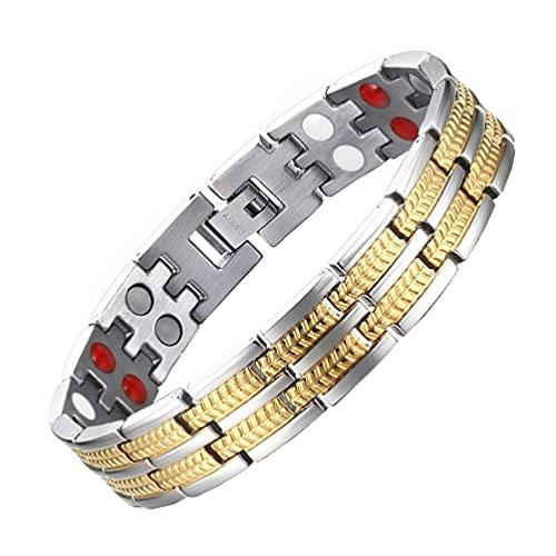 Healifty Pulsera magnética para hombre, doble imán ancho, acero de titanio, para alivio del dolor de artritis, túnel carpiano (dorado)
