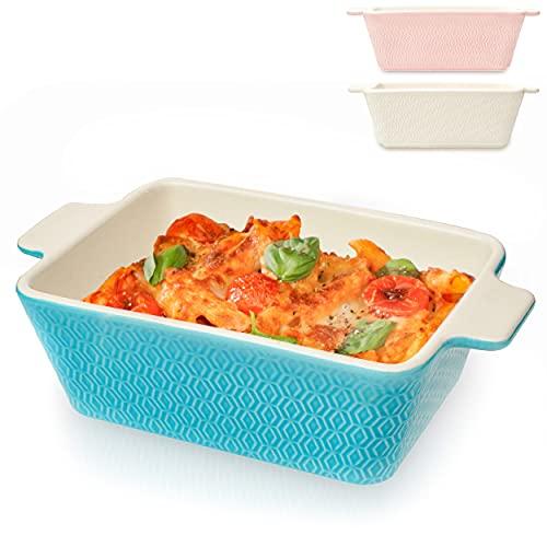 Pirofila da Forno in Ceramica Rettangolare - Media - Per Gratinati, Lasagne, Pasticceria - Per 2 Porzioni - Blu