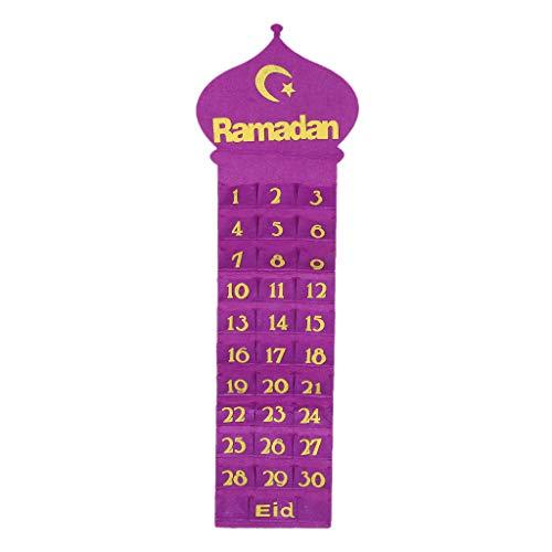 Mayoaoa Fühlte Mich Ramadan Eid Mubarak Wandbehang Nummeriert Countdown Kalender 30 Spaces Home Dekor