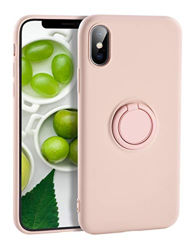 Yoopake iPhone Xs Max Case Silicone, XS Max Liquid Silicone Case with Ring Holder Kickstand Work with Magnetic Car Mount Shockproof Soft Slim Fit Phone Cover Case for Apple iPhone Xs Max,Pink