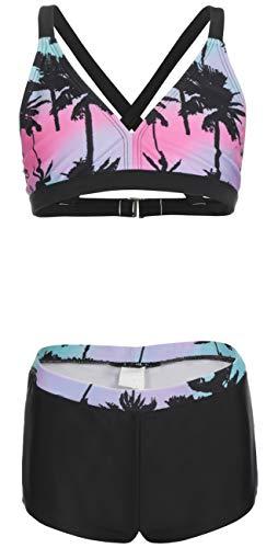 DUSISHIDAN Badeanzug Mädchen, Schlinge Bikinis für Kindere Zweiteiliger Palme Lila mit Sporthosen 164-176 XL(13-15)