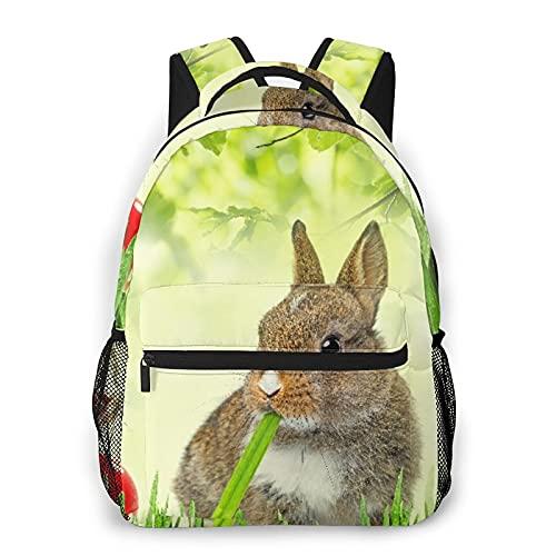 Zaino da viaggio per laptop,marrone Litte Rabbits Prato verde erba primavera Pasqua fotografia,grande business resistente all'acqua antifurto per computer Daypack Slim durevole College School Bookbag