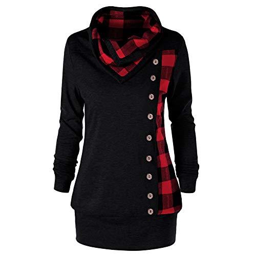 YWLINK Mode Frauen Umlegekragen SchaltfläChe Kariertes Patchwork Sweatshirt Top Damen Pulli Pullover Rollkragen Bluse(L,Rot)