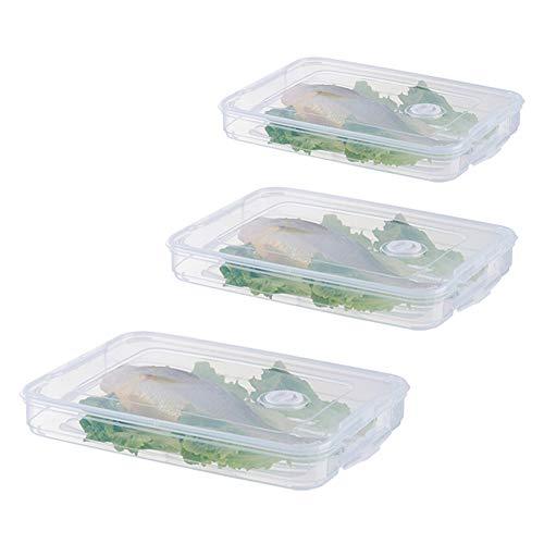 Titular De La Nevera Los Alimentos Congelados Albóndigas Domésticos De Cocina Caja De Almacenamiento Caja De Alimentos Organizador Bandeja con Una Sola Capa con Tapa Apilable De Plástico Transparente