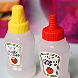 Woais Portable Mini Leakproof Tomato Ketchup Dispenser Salad Container Squeeze Bottle for Lunch Box Sauce Bottle