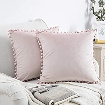 Phantoscope Pack of 2 Pom Poms Velvet Decorative Throw Pillow Covers Soft Solid Square Cushion Case Pillow Decor Light Pink 18 x 18 inches 45 x 45 cm