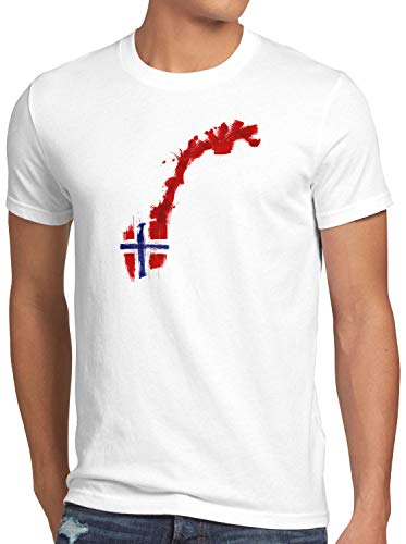 CottonCloud Flagge Norwegen Herren T-Shirt Fußball Sport Norway WM EM Fahne, Größe:XL, Farbe:Weiß