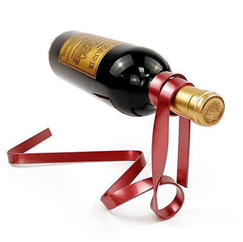 BININBOX Estante de Vino en Forma de Cinta Flotante al Aire Botellero de Equilibrio por Gravedad Decoración Creativa de artesanía como Regalo (36×15×16CM) (Rojo)