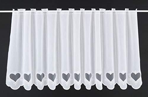 Tenda della Finestra Ricamato con Il Cuore Altezza 60 cm | può Scegliere la Larghezza in segmenti da 15,5 cm, Come Vuole | Colore: Bianco | Tendine Cucina