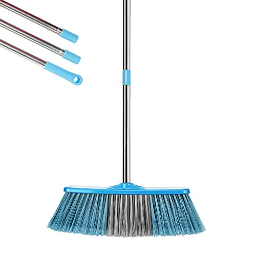 """YONILL Indoor Outdoor Broom with Long Handle, 53"""" Angle Brooms for Floor Cleaning Heavy Duty Sweeping Broom for Garage, Patio, Garden, House and Kitchen"""