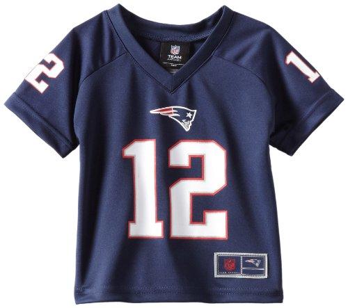 NFL Boys 4-7 Tom Brady New England Patriots Boys – playera con cuello en V, azul marino oscuro, M (5-6)