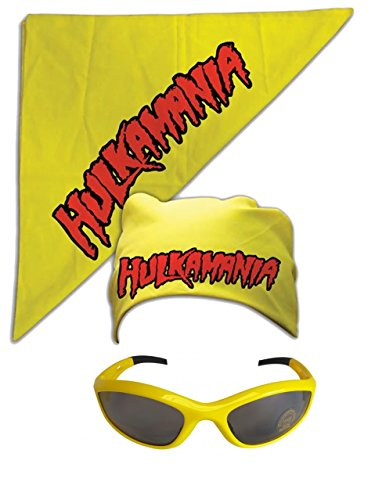 Hulk Hogan Hulkamania Bandana Sunglasses Costume -Yellow-Yellow