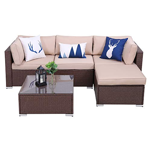 Green4ever 5 PCs Outdoor Furniture Sectional Sofa Set Patio Wicker Sofa, 5 Piece All-Weather PE Rattan Furniture Sets with Blue Cushion, Black