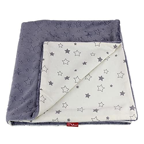 ByBoom Basics - Manta para bebé (75 x 100 cm, Öko-Tex, doble cara, mullida, con lado de algodón y Minky, muy suave, fabricada en la UE)