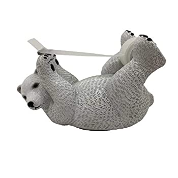 ANIMMO Polar Bear Style Desktop Tape Dispenser with Steel Teeth Tape Cutter Tape Holder with Velveted Cloth Bottom for Desk Accessories Office and Home