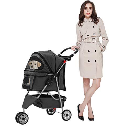 Pet Stroller Dog Stroller for Small Medium Dogs & Cats, 3 Wheel Folding Pet Travel Stoller Pet...