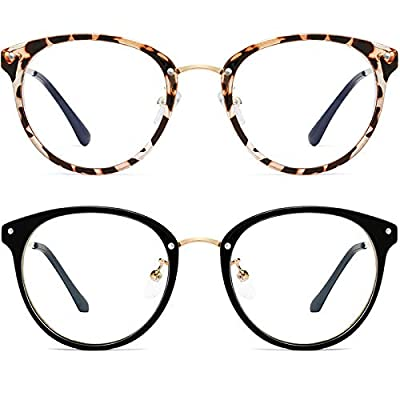 Retro Round Blue Light Blocking Glasses Women/M...