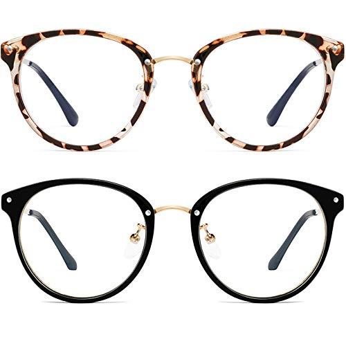 Blue Light Blocking Glasses for Women Men-FEIDU Round Computer Reading Glasses (2020-z5)