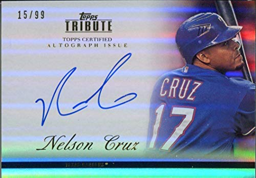 Nelson Cruz Autographed 2012 Topps Tribute Card - Baseball Slabbed Autographed Cards