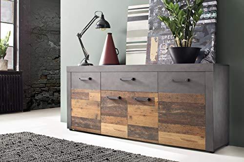 trendteam smart living Wohnzimmer Schrank Wohnzimmerschrank Indy, 178 x 77 x 40 cm in Korpus Graphit Grau, Front Old Wood NB mit viel Stauraum