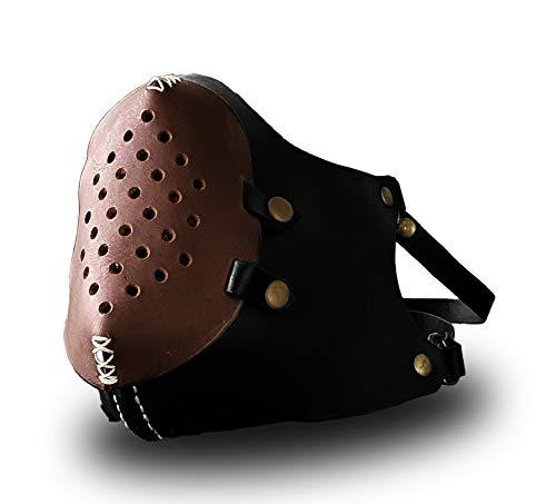 Mascarilla de piel sinttica unisex estilo Bane negro marrn hecha a mano vapor Punk oveja piel moto proteccin facial