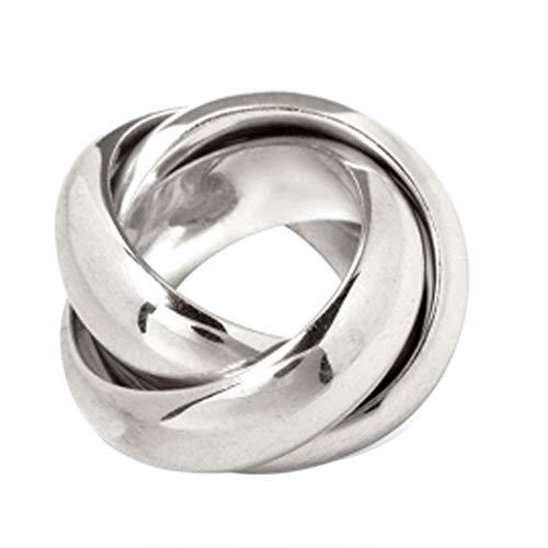 massiver 3er Ring - hochwertige Goldschmiedearbeit aus Deutschland (Sterling Silber 925) 16 mm breit- Rollring - Spielring - Dreierring - 3-fach Ring - Dreier Ring - 3-er Ring - Damenring - Herrenring